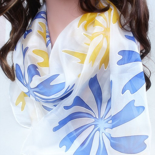 Siidisall Kollased ja sinised lilled