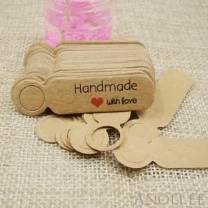 "Sildid, etiketid ""Handmade with love"" 100tk/5x1,3 cm, pruun"