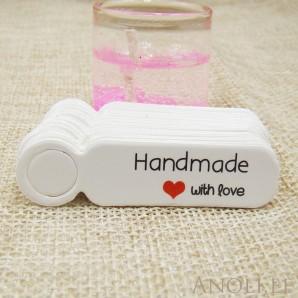 """Sildid, etiketid """"Handmade with love"""" 100tk/5x1,3 cm, valge"""