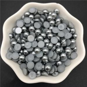 100 tk, 6 mm, hall - Akrüülist poolpärlid