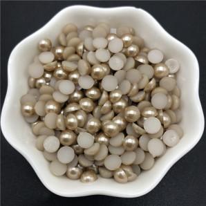 100 tk, 6 mm, helepruun - Akrüülist poolpärlid