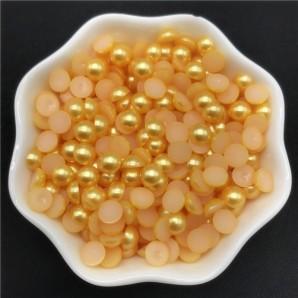 100 tk, 6 mm, kollane - Akrüülist poolpärlid
